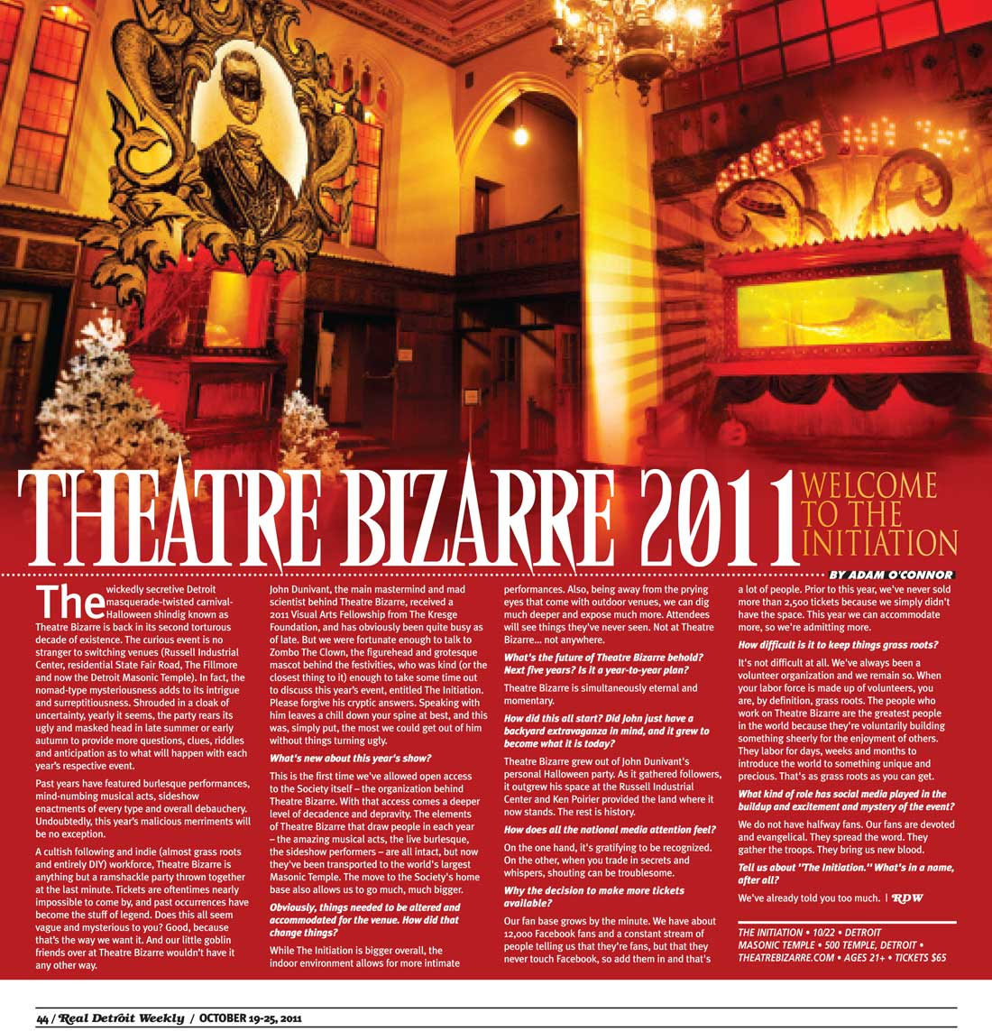 Article about The Initiation (by Theatre Bizarre) in Real Detroit magazine - 10/19/2011